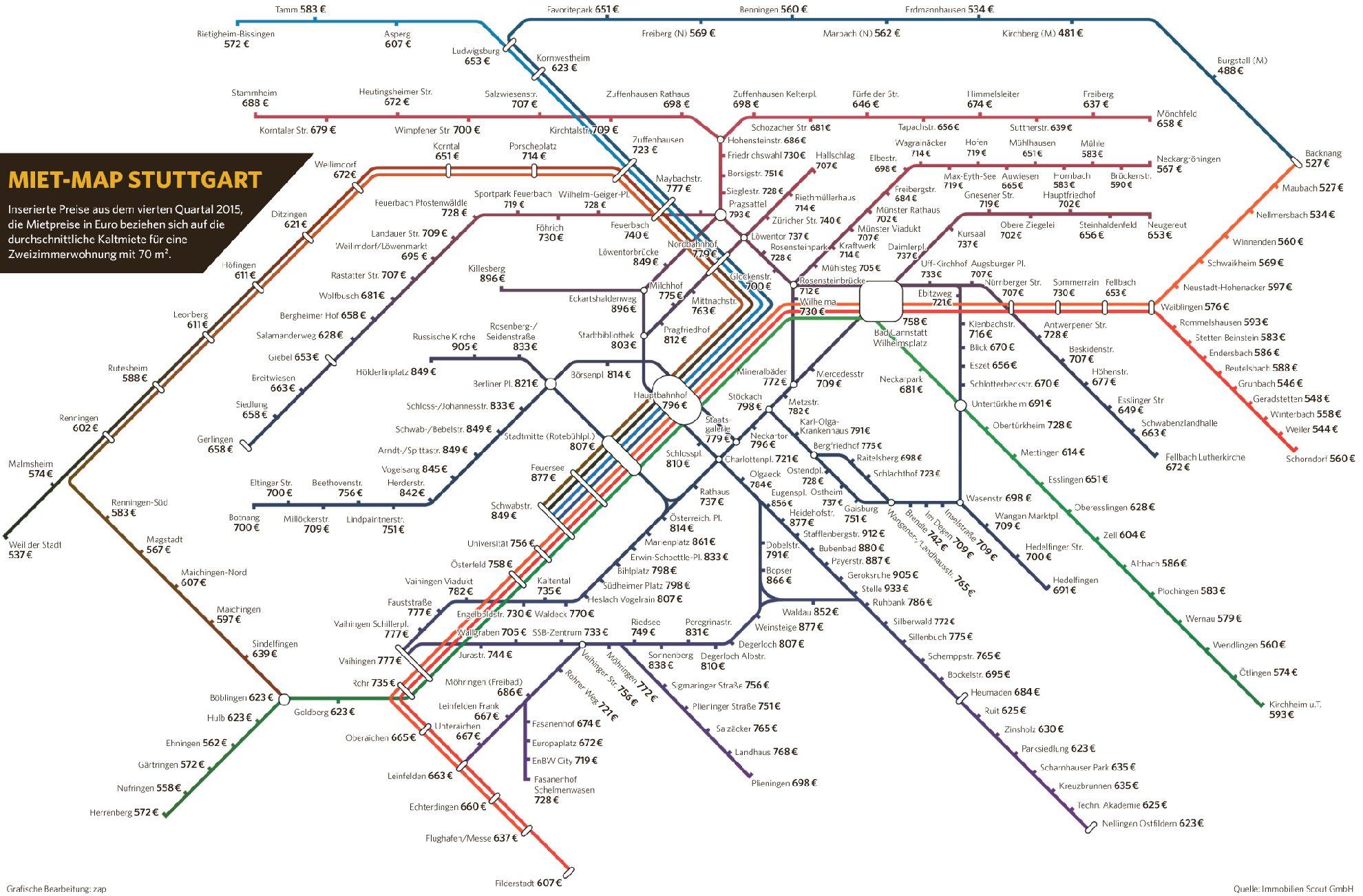 stuttgart stadtteile karte Mietpreis Vergleich für Stuttgart und Region: Teure Geroksruhe  stuttgart stadtteile karte