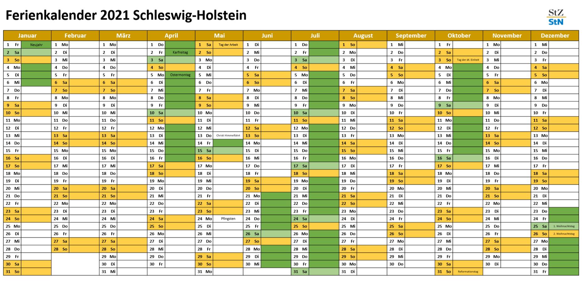 Ferien in Schleswig-Holstein 2021: Kalender und Übersicht