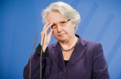 Die zurückgetretene Bildungsministerin Annette Schavan (CDU) Foto: dpa