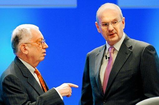 EnBW-Aufseher Claus Dieter Hoffmann mit Noch-Konzernchef Hans-Peter Villis. Foto: dapd