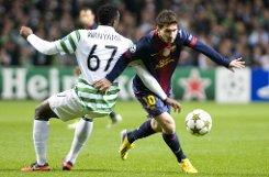 Gleich neun Spieler liegen mit drei Toren in vier Partien der Champions League aktuell auf dem b6. Platz/b der Torjägerliste: Der prominenteste ist sicherlich bLionel Messi/b (rechts), der zuletzt beim 1:2 des bFC Barcelona/b bei Celtic Glasgow traf. Der ... Foto: dpa