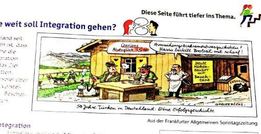 Die Karikatur, weshalb der deutsche Botschafter in der Türkei einbestellt worden ist, ist in einem Schulbuch zu sehen und war 2011 in der Frankfurter Allgemeinen Sonntagszeitung erschienen. Foto: Repro StZ