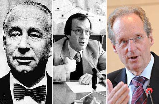 Drei Oberbürgermeister haben Stuttgart seit 1945 ihren Stempel aufgedrückt (von links): Arnulf Klett (parteilos), Manfred Rommel (CDU) und Wolfgang Schuster (CDU). Foto: Fotos: dpa