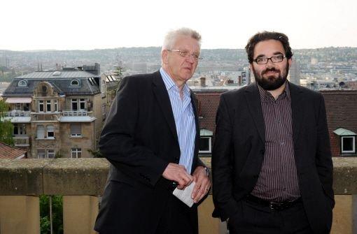 Südwest-Ministerpräsident Winfried Kretschmann (links) und Chris Kühn (rechts), der baden-württembergische Landesvorsitzende der Grünen  Foto: dpa