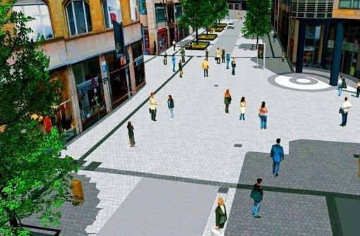 Von Anfang Mai an wird der Abschnitt zwischen Sophien- und Eberhardstraße zu einer Begegnungsfläche mit Platzcharakter gestaltet. Foto: Stadt Stuttgart (2)