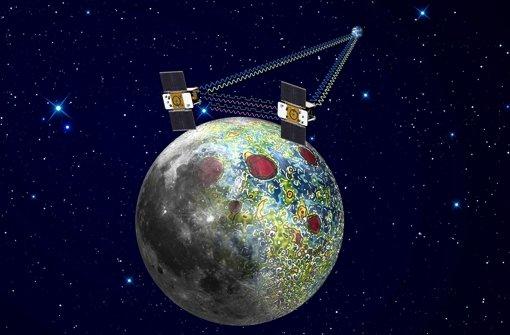 """Fast ein Jahr lang erforschten die Sonden """"Ebb"""" und """"Flow"""" den Mond. Foto: NASA/JPL"""