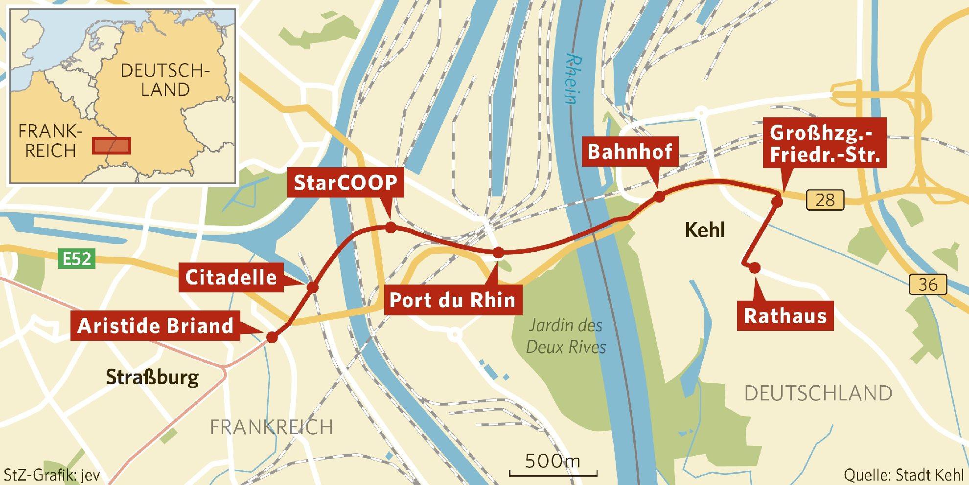 Neue Tramlinie Von Straßburg Nach Kehl Annäherung Via Tram