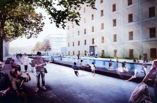 An der Nordseite der Bibliothek 21 kann man in Zukunft entlang eines großen Wasserspiels flanieren. Foto: Visualisierung: Atelier Dreiseitl, Repro: Rudel