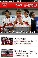 So sieht sie aus - unsere App Mein VfB. Hier gibts alle Infos, die der Fan des VfB Stuttgart wissen muss.p Screenshot: SIR