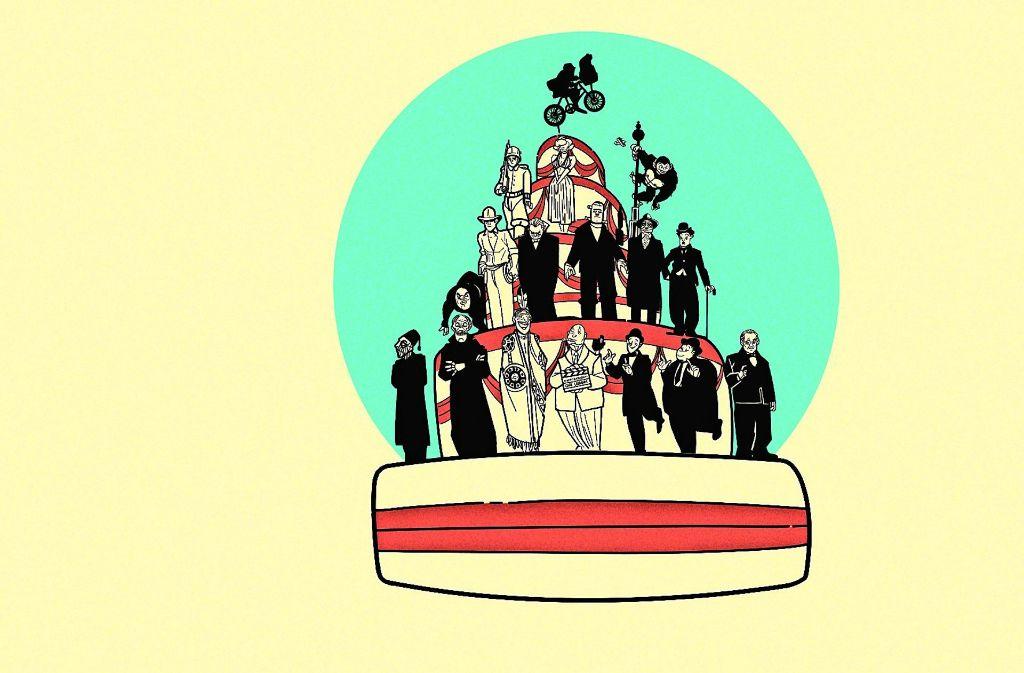 Die Geburtstagstorte der Filmakademie mit den Protagonisten Foto: Haus der Geschichte