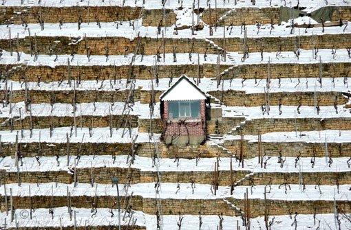 Der Schnee verwandelt die Weinberge rund um Stuttgart in ein geometrisches Muster aus schwarz und weiß. Foto: Leserfotograf crisho
