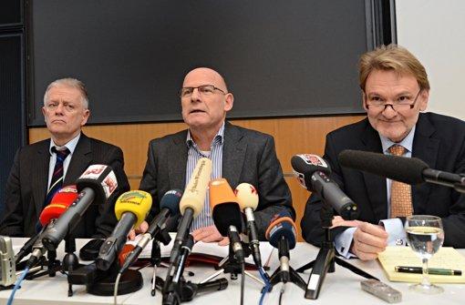Fritz Kuhn, Winfried Hermann und Volker Kefer bei einer Pressekonferenz nach dem Treffen des Stuttgart-21-Lenkungskreises Foto: dpa