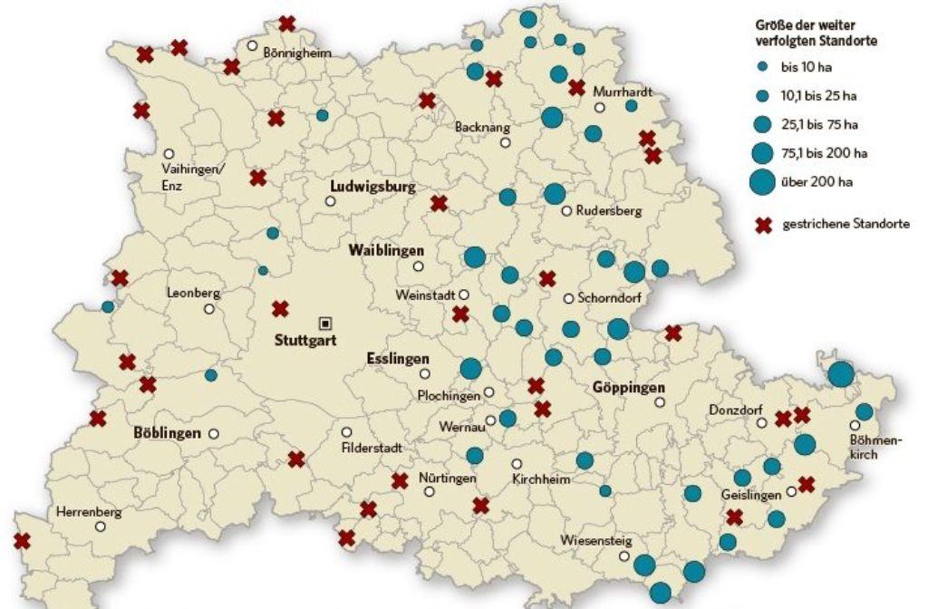 Fast jeder zweite Windkraft-Standort in der Region Stuttgart wurde von der Liste gestrichen. Foto: StZ-Grafik, Quelle: Regionalverband