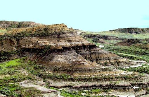 Die beiden Pfeile zeigen auf Vulkanasche im US-Bundesstaat Montana. Die untere Schicht ist 66 Millionen Jahre alt. Foto: Science