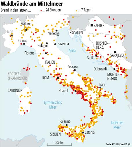 Schweden Waldbrände Karte.Waldbrände Auf Dem Balkan Kroatien Urlauber Fliehen Vor Rauchwolken