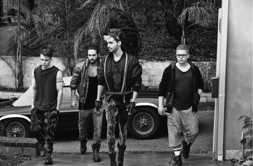 So sehen Tokio Hotel 2014 aus: Die Zwillinge Bill (im Vordergrund) und Tom Kaulitz (Zweiter von links)  stehen immer noch im Rampenlicht. Foto: Lado Alexi/Universal Music