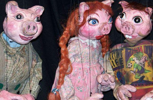 Morgen in Nellys Puppen Theater: Drei kleine Schweinchen