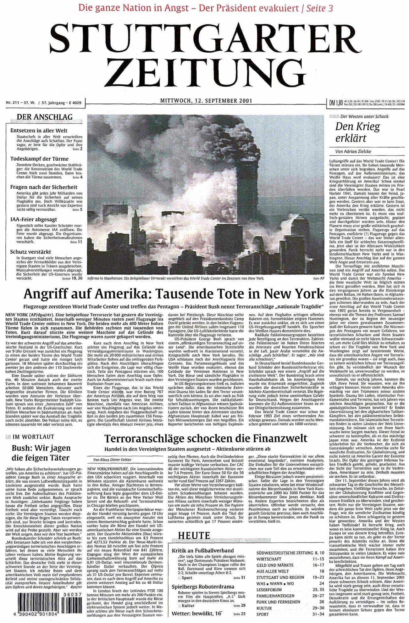 Der Tag danach: Die Titelseite der Stuttgarter Zeitung vom 12. September 2001.