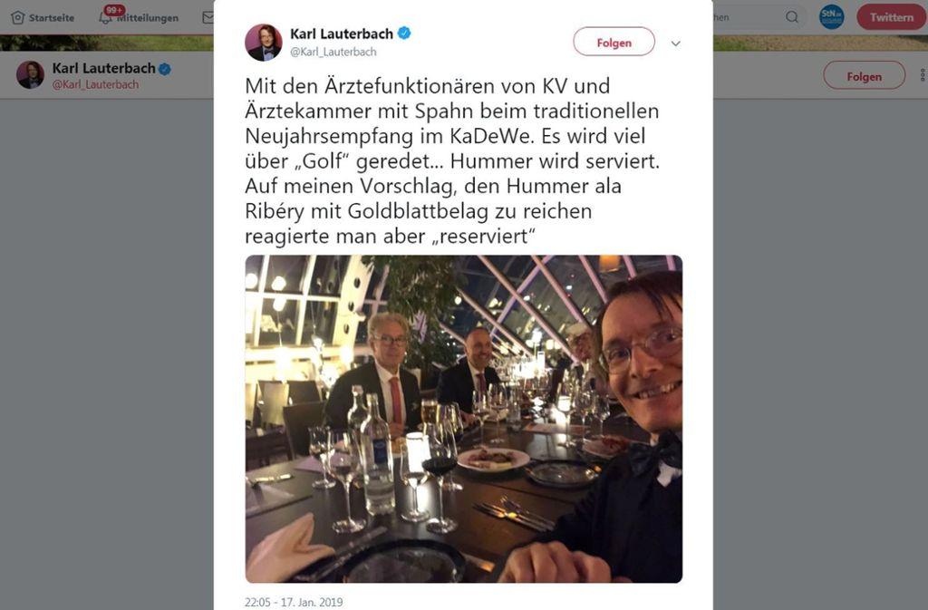 Twitter Fauxpas Von Karl Lauterbach Satire Tweet Mit Hummer Geht Daneben Panorama Stuttgarter Zeitung